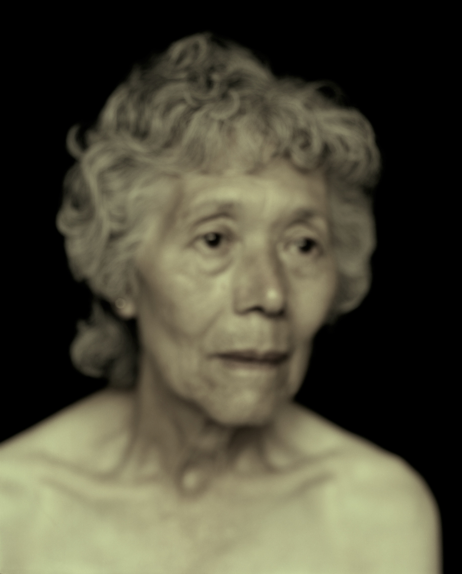 Old lady with curly hair and bare shoulders by Lenka Rayn H.